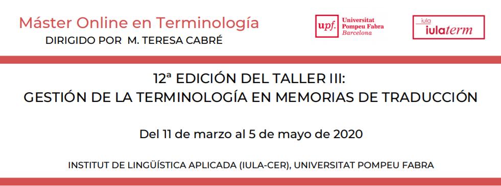 Taller online: Gestión de la terminología en memorias de traducción